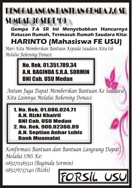 Donasi bantuan gempa